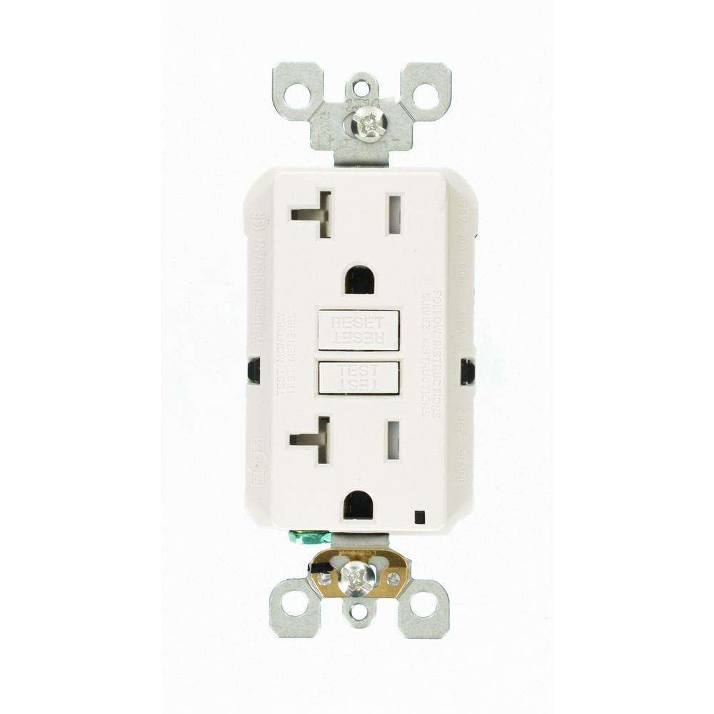 20 Amp 125-Volt Duplex SmarTest Self-Test SmartlockPro Tamper Resistant GFCI Outlet, White