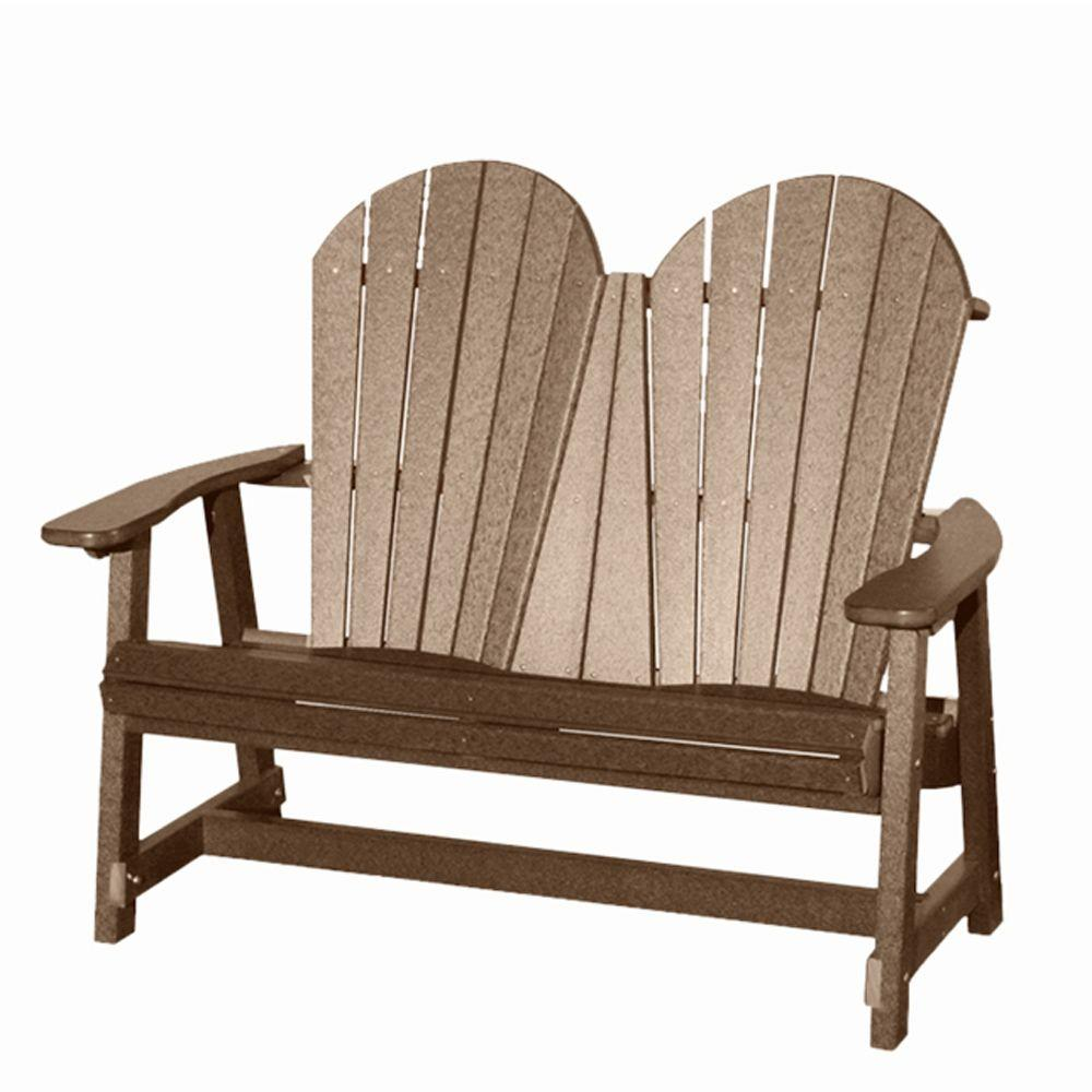 Vifah Roch Recycled Plastic Adirondack Patio Bench in Weathered Wood-DISCONTINUED
