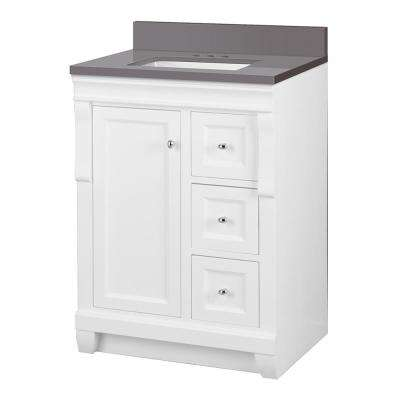 Naples 25 in. W x 22 in. D Vanity Cabinet in White with Engineered Marble Vanity Top in Slate Grey with White Basin