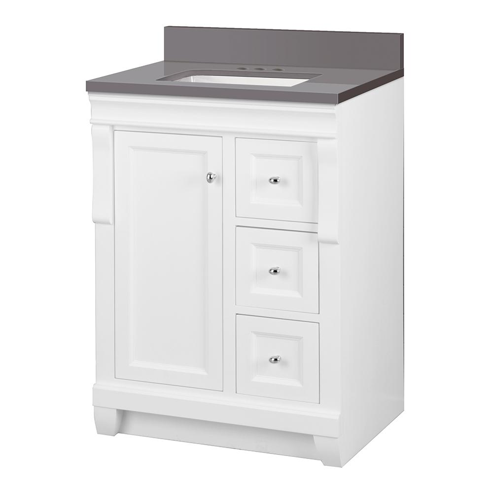 Home Decorators Collection Naples 25 in. W x 22 in. D Vanity Cabinet in White with Engineered Marble Vanity Top in Slate Grey with White Basin was $579.0 now $405.3 (30.0% off)