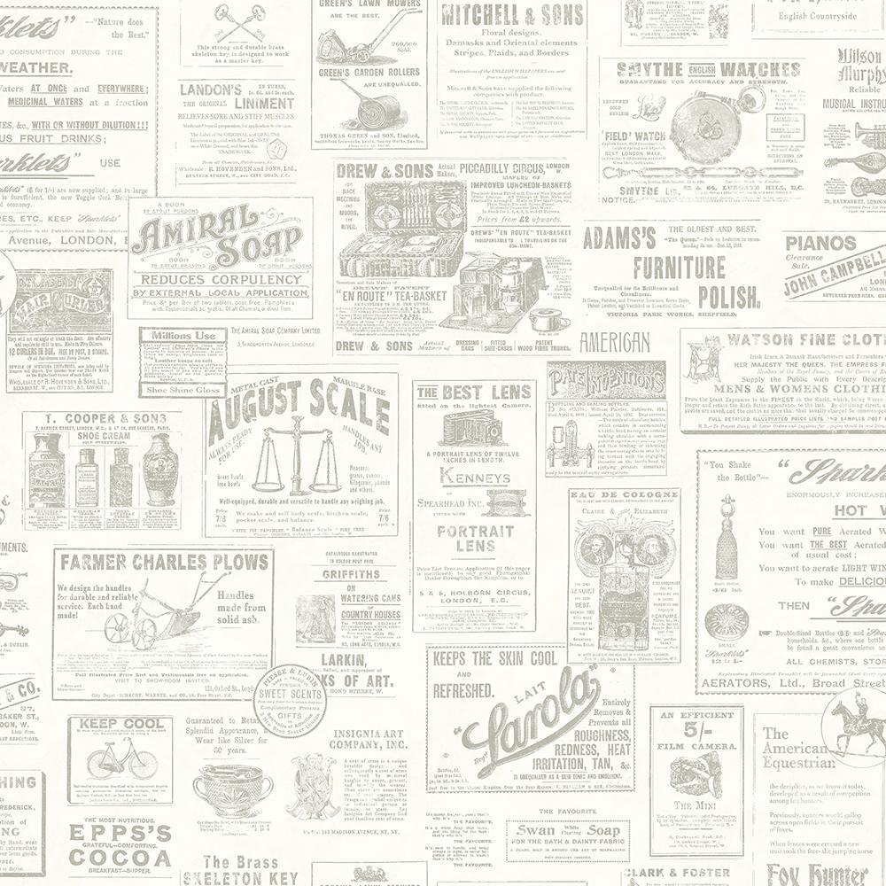 Chesapeake 8 in. x 10 in. Alden Cream Newspaper Wallpaper Sample