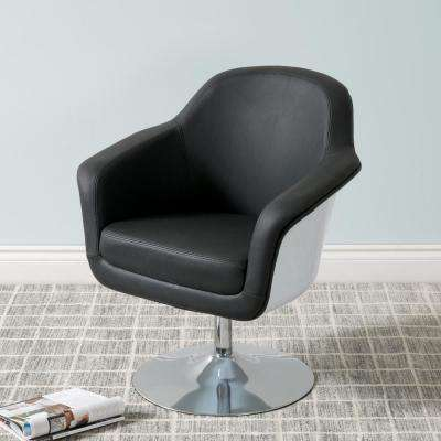 Mod Modern Black and White Bonded Leather Accent Chair