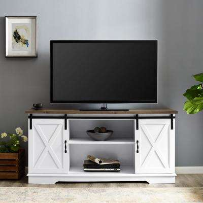 58 in. White and Rustic Oak Sliding Barn Door TV Console