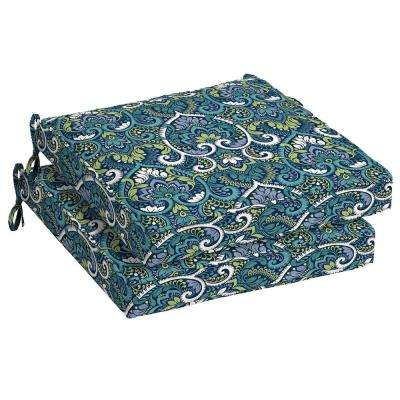 Sapphire Aurora Damask Square Outdoor Seat Cushion (2-Pack)