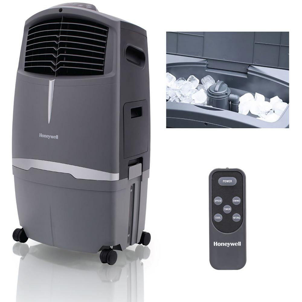 Honeywell 25 CFM 3-Speed Indoor/Outdoor Portable Evaporative Cooler (Swamp Cooler) with Remote Control for 320 sq. ft.
