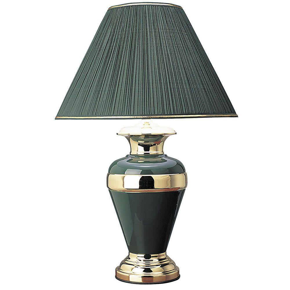 Ore International 32 In Metal Hunter Green With Gold Lamp 6129gn