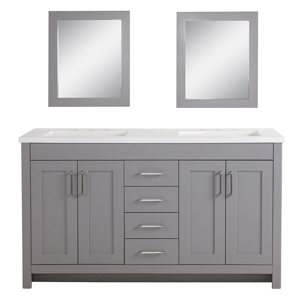 Home Decorators Collection Westcourt 61 In W Bath Vanity In Sterling Gray With Vanity Top In White With White Sinks And Mirrors