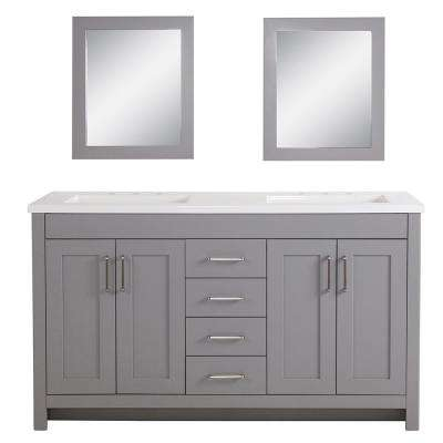 60 Inch Bathroom Vanity Home Depot.Westcourt 61 In W Bath Vanity In Sterling Gray With Vanity Top In White With White Sinks And Mirrors