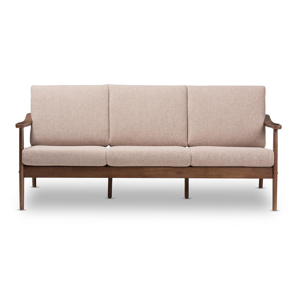 Venza Light Brown/Walnut Brown Fabric Sofa