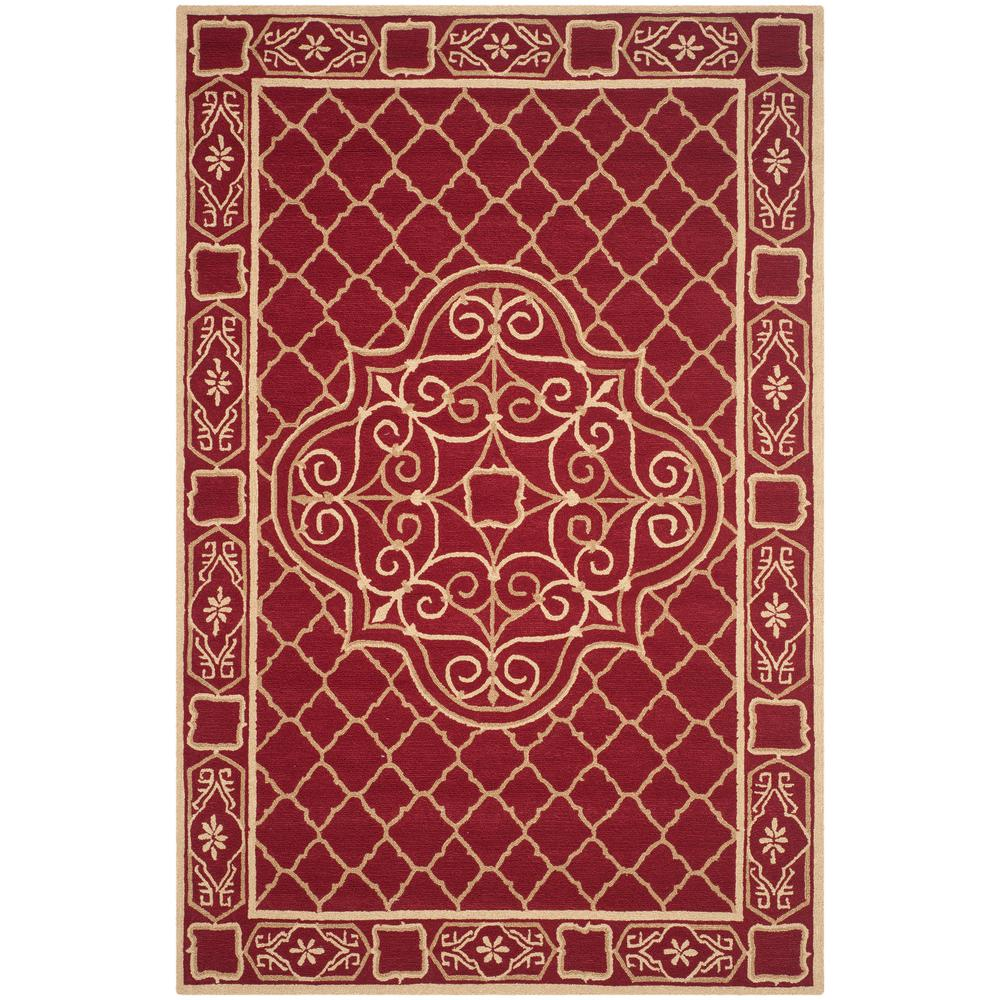 Safavieh easy care maroon gold 6 ft x 9 ft area rug for Easy rugs