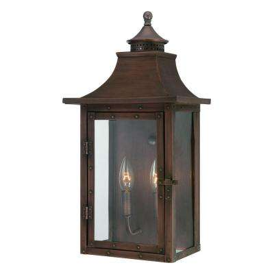 St Charles Collection Wall Mount 2 Light Outdoor Copper Patina Fixture