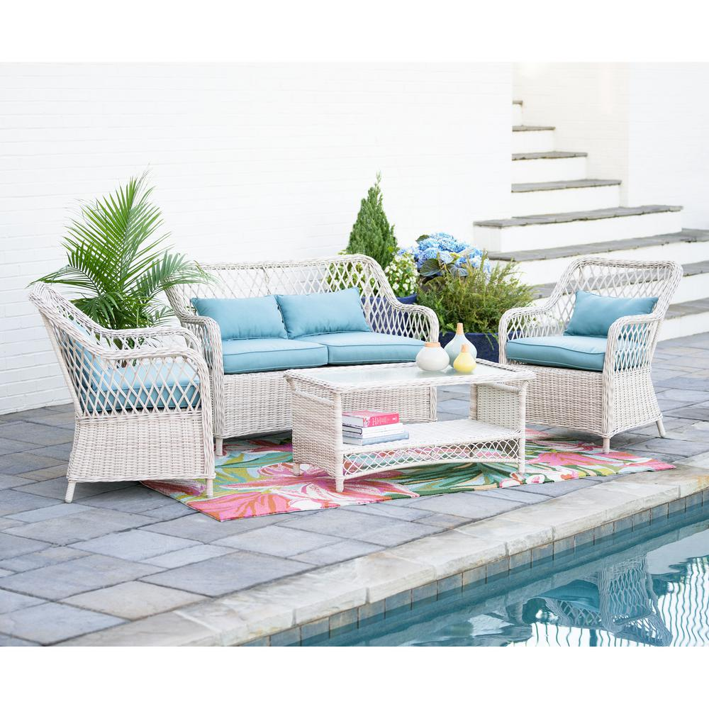 Leisure Made Lakeland 4 Piece Wicker Patio Conversation Set With Spa Blue  Cushions