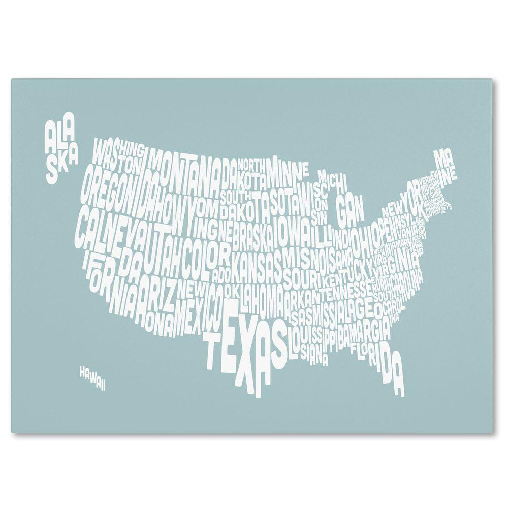 Trademark Fine Art 30 in. x 47 in. USA States Text Map - Duck Egg Canvas Art