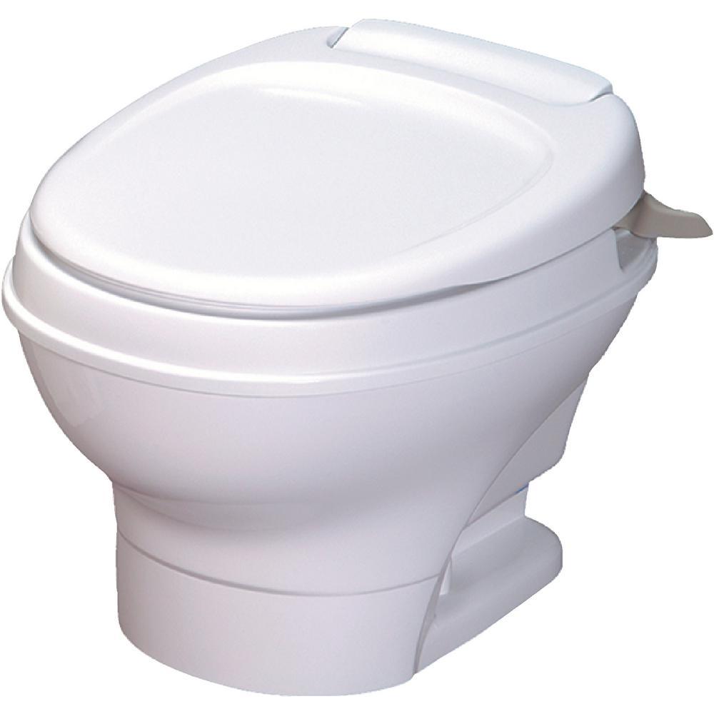 Aqua-Magic V RV Low Permanent Toilet Hand Flush - White