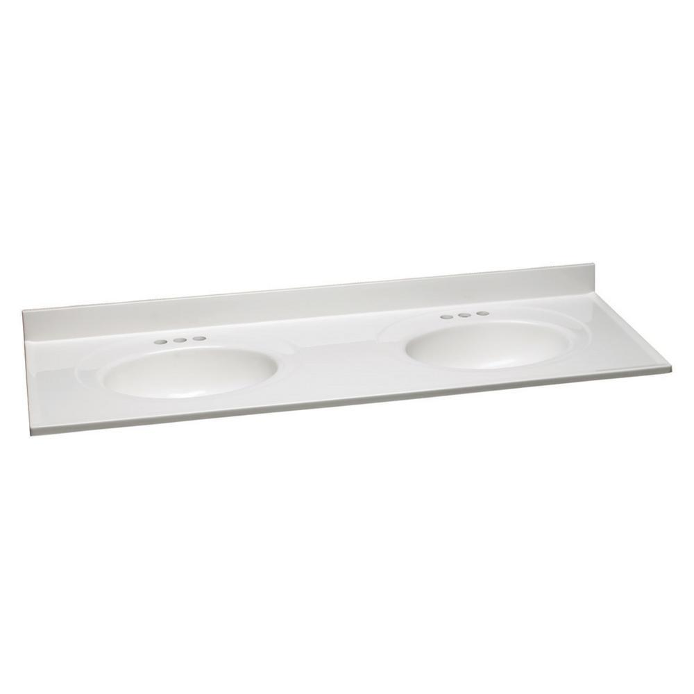 61 in. W Cultured Marble Vanity Top with Solid White Double