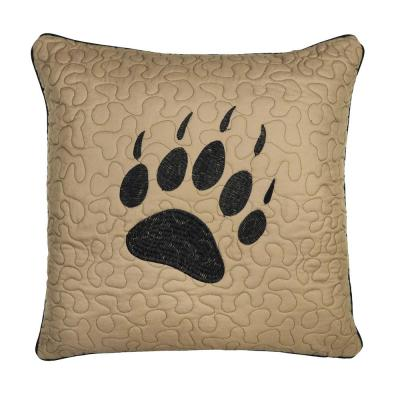 Bear Walk Plaid Beige, Black Polyester 18 in. x 18 in. Square Throw Pillow