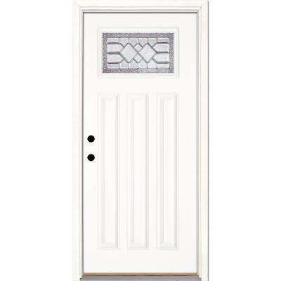 37.5 in. x 81.625 in. Mission Pointe Zinc Craftsman Unfinished Smooth Right-Hand Inswing Fiberglass Prehung Front Door