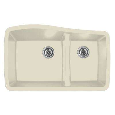 Undermount Quartz Composite 33 in. 60/40 Double Bowl Kitchen Sink in Bisque