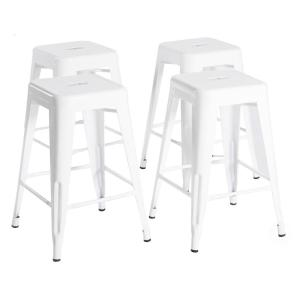 Remarkable Bold Tones 24 In High White Metal Bar Stools Set Of 4 Pabps2019 Chair Design Images Pabps2019Com