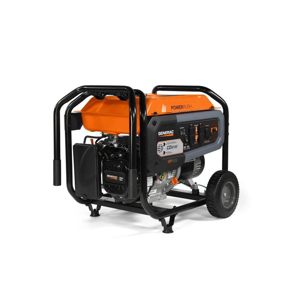 Generac Gp 6500 Watt Gasoline Powered Manual Start Portable Generator With 25 Foot Cord And Co Sense 49 Csa 7672 The Home Depot