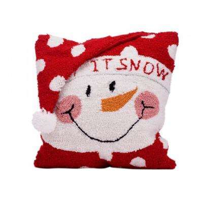 14 in. Hooked Pillow, Snowman