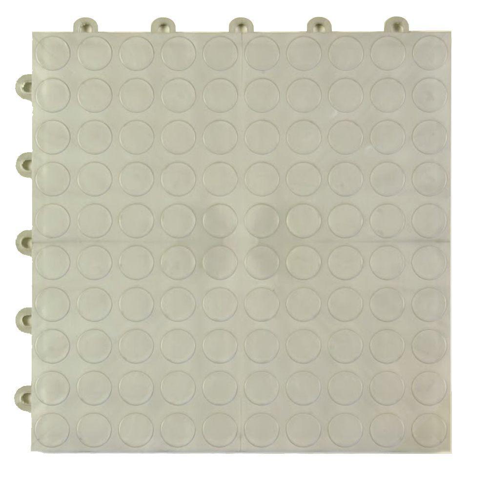 Coin Top 1 ft. x 1 ft. x 5/8 in. Metallic Polypropylene Interlocking Garage Floor Tile (Case of 24)