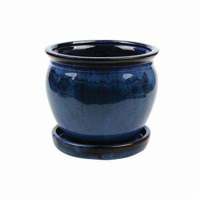 Wisteria 12 in. Dia  Dripping Blue Ceramic Planter