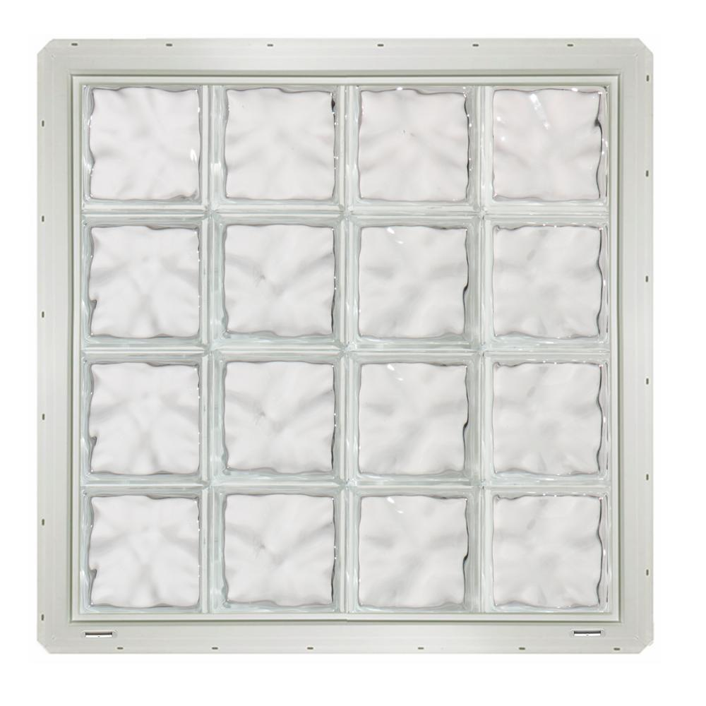 CrystaLok 31.75 in. x 31.75 in. x 3.25 in. Wave Pattern Glass Block Window with White Vinyl Nailing Fin