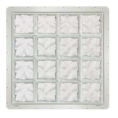 31.75 in. x 31.75 in. x 3.25 in. Wave Pattern Vinyl Glass Block Window with White Nailing Fin