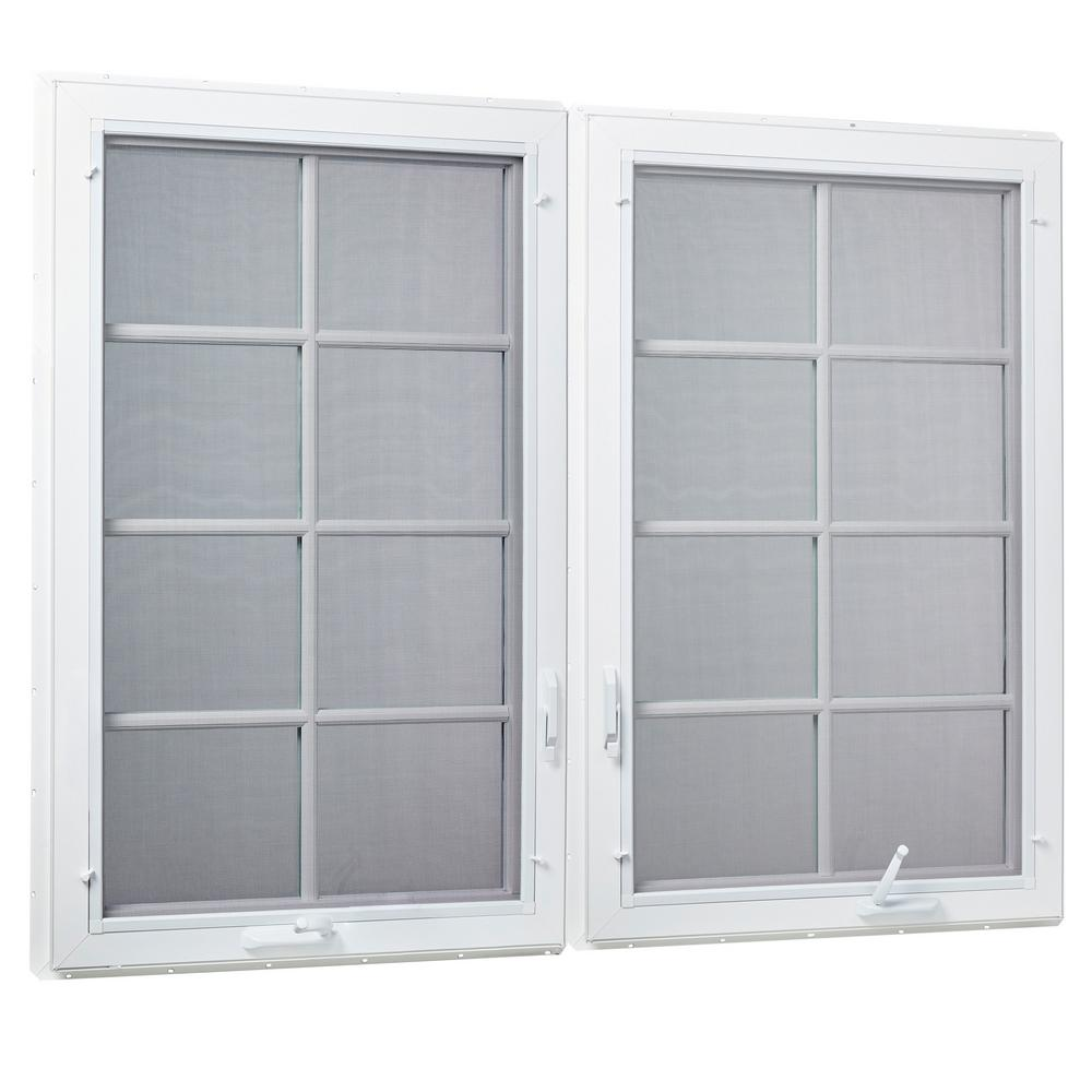 TAFCO WINDOWS 71 in. x 47.5 in. Right/Left Hand Vinyl Dual ...