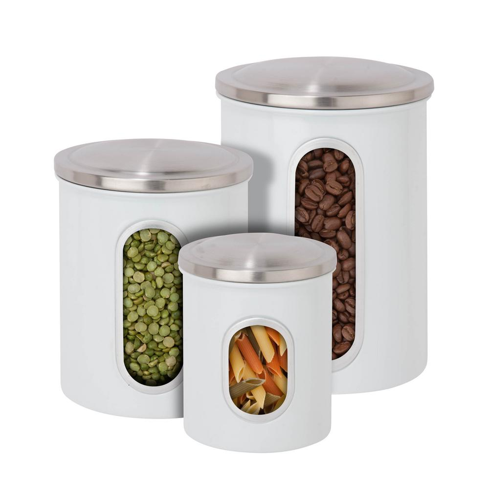 3-Pack Metal Storage Canisters in White