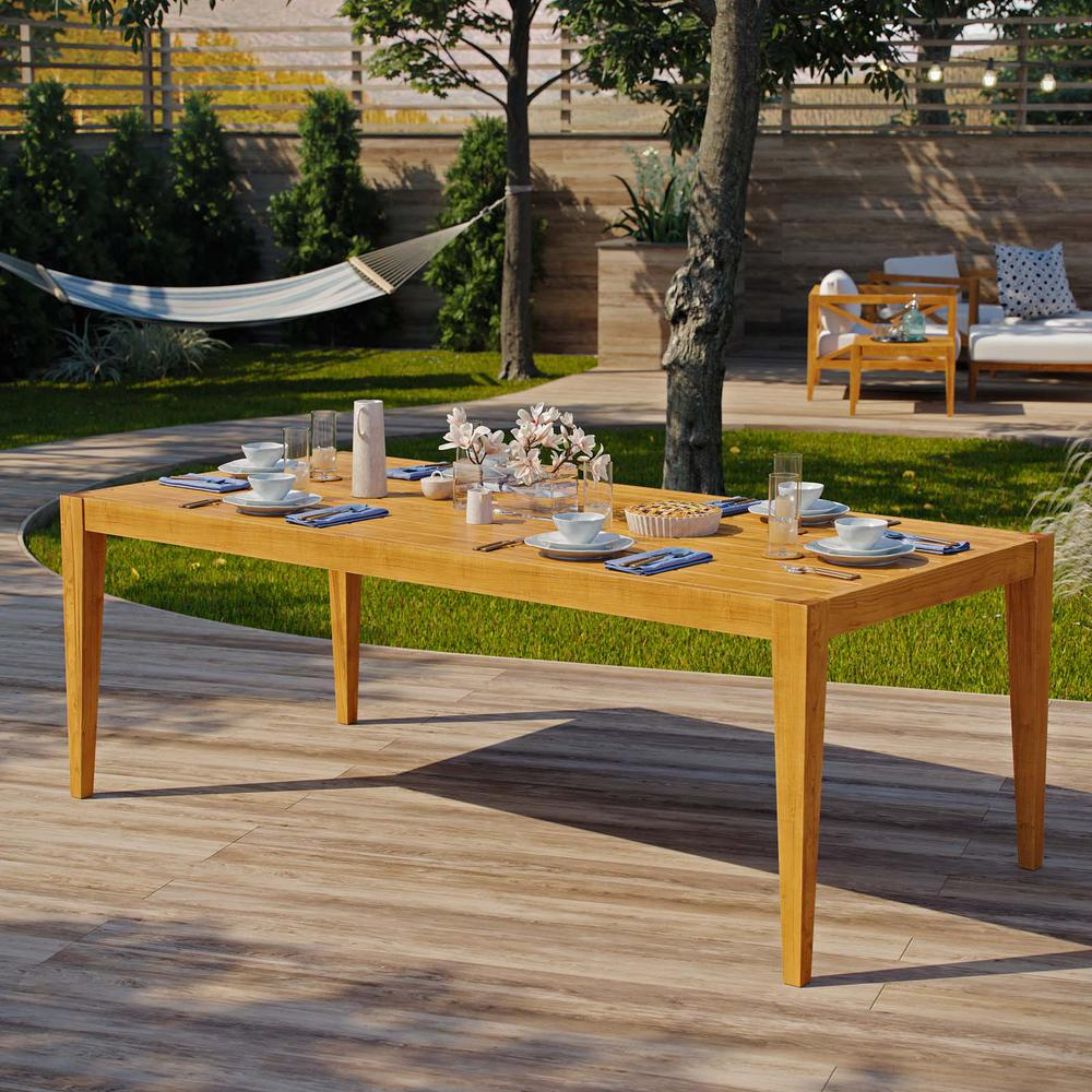 MODWAY Northlake 85 in. Natural Grade A Teak Wood Outdoor Dining Table