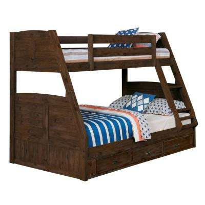Twin over Full Solid Wood Bunk bed in Chestnut with Twin Pull Out Trundle