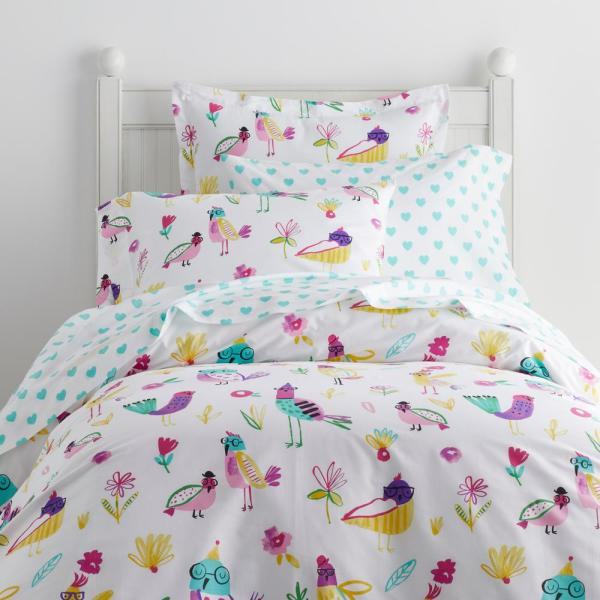 Company Kids by The Company Store Birdbrain Multi Cotton Percale Queen