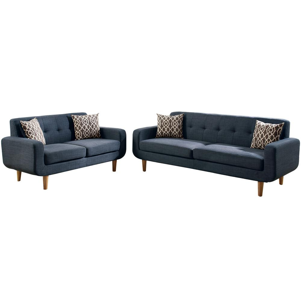 Venetian Worldwide Trentino 2-Piece Dark Blue Sofa Set-VENE-F6526 ...