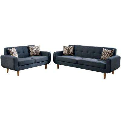 Trentino 2 Piece Dark Blue Sofa Set