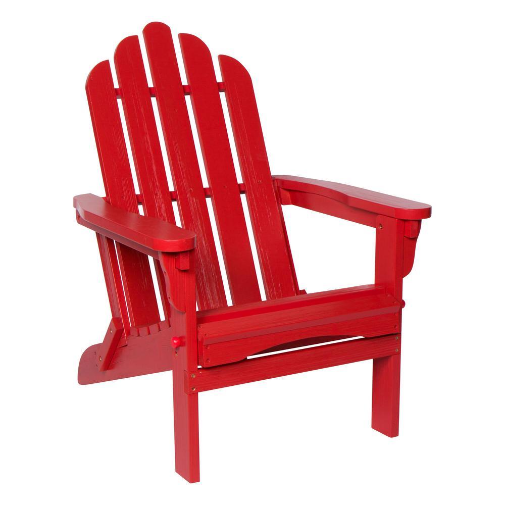 Marina II 37 in. Tall Chili Red Adirondack Folding Chair with Wood HYDRO-TEX Finish