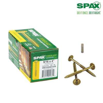 5/16 in. x 4 in. T-Star Drive Washer Head Yellow Zinc Coated PowerLag Screw Contractor Pax (50-Box)