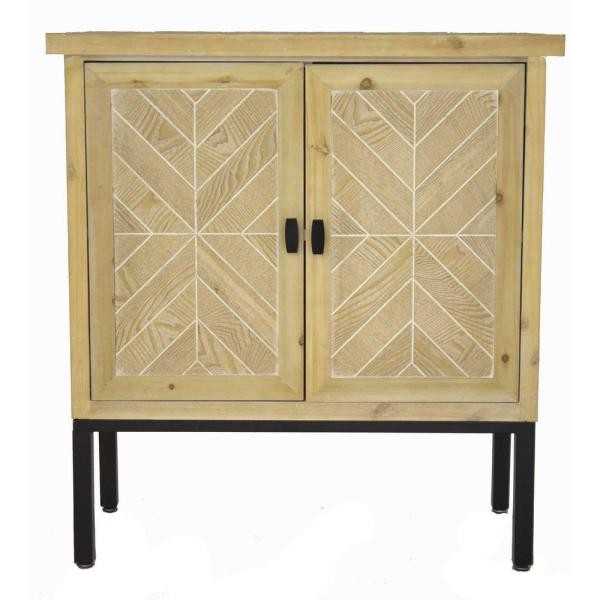Shelly Assembled 31.5 in. x 31.5 in. x 15 in. White Wash Iron Sideboard Storage with an Iron Frame, 2 Wood Doors