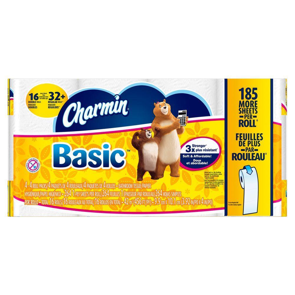Bathroom Tissue charmin basic toilet paper (16 double rolls = regular rolls