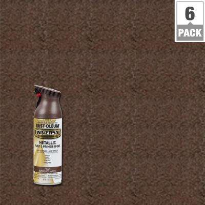 11 oz. All Surface Flat Metallic Burnished Amber Spray Paint and Primer in One (6-Pack)