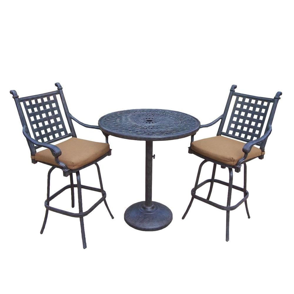 Cast Aluminum 3-Piece Round Patio Bar Height Dining Set with Sunbrella