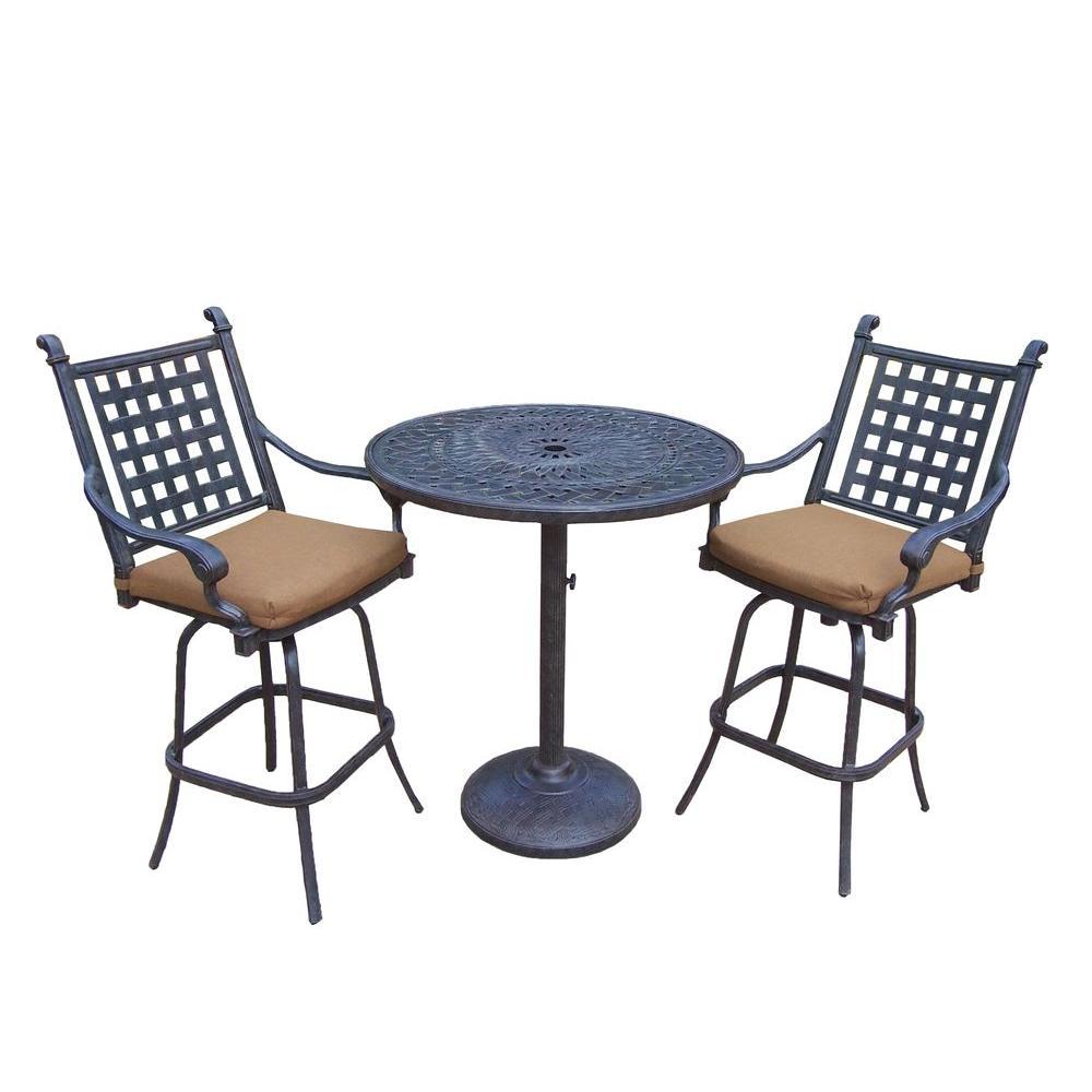Oakland Living Cast Aluminum 3 Piece Round Patio Bar Height Dining Set With Sunbrella Cushions