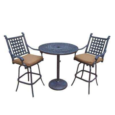 Cast Aluminum 3-Piece Round Patio Bar Height Dining Set with Sunbrella Cushions