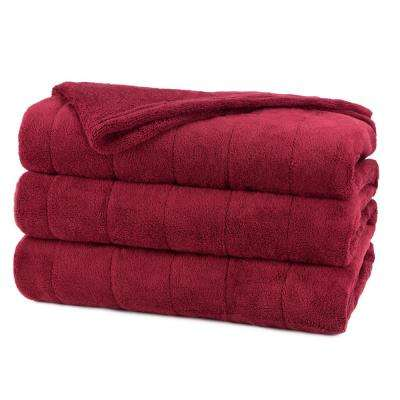 Queen Channeled Microplush Heated Blanket, Garnet