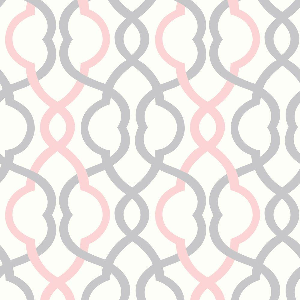 The Wallpaper Company 56 sq. ft. Make Waves White/Pink/Grey Wallpaper