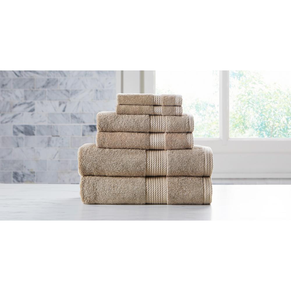 Extravagant 6-Piece Taupe Slivadur Antibacterial Material Towel Set