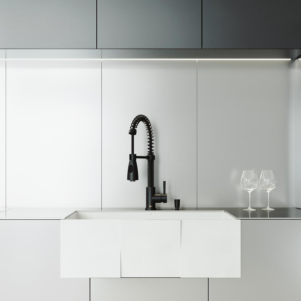 Vigo All In One Farmhouse Apron Front Matte Stone 30 In Single Bowl Kitchen Sink In Matte White And Faucet In Matte Black