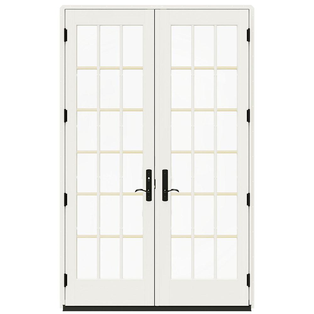 Jeld Wen 60 In X 96 In W 4500 Black Clad Wood Right Hand 18 Lite French Patio Door With