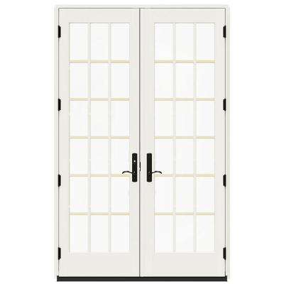 60 in. x 96 in. W-4500 Hartford Green Clad Wood 18 Lite Inswing French Patio Door w/White Paint Interior